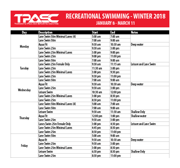 Winter Recreational Swimming Schedule